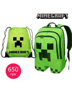 Школьный рюкзак Minecraft Creeper Салатовый