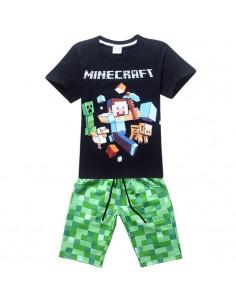 Комплект на мальчика Minecraft летний с темной футболкой