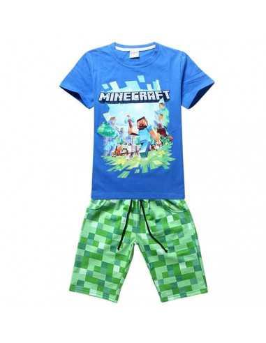 Комплект на мальчика Minecraft синий летний