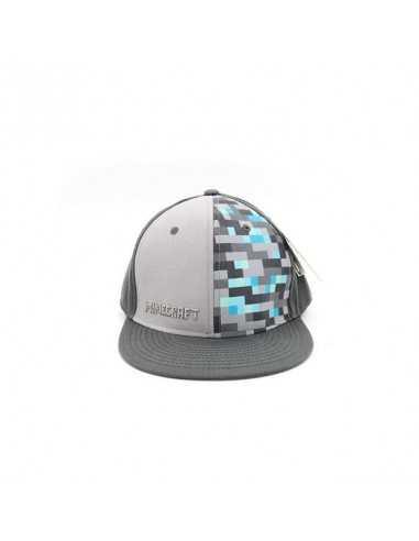 Кепка рэперка Minecraft официальная серо-голубая